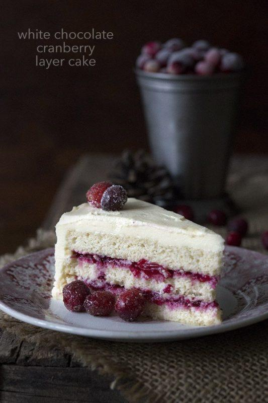 A white chocolate and cranberry cake against a dark background