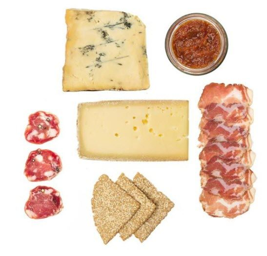 A selection of cheese, meat and crackers