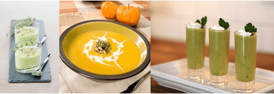Three images of soup, the first re in small short oval glasses containing a light green soup with fresh thyme sprigs, displayed on a narrow slate tray with silver spoons, the middles is pumpkin bisque garnished with cream, and the third are shooter glasses with a green soup garnished with goat cheese and parsley leaves.
