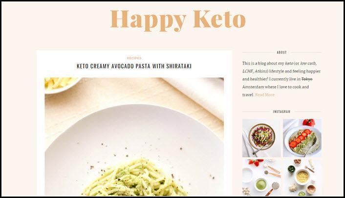 Website screenshot from Happy Keto