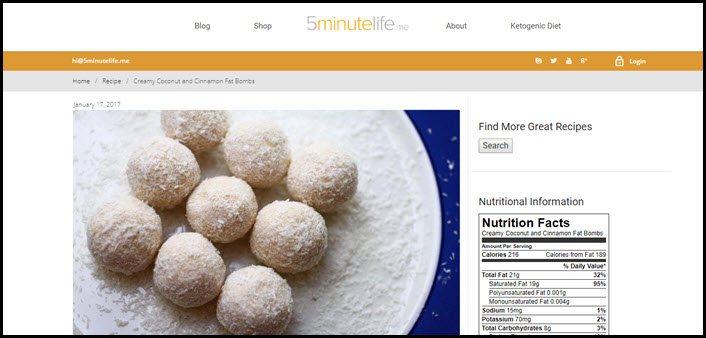 Website screenshot from 5 Minutes Life