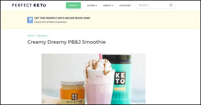 Website screenshot from Perfect Keto