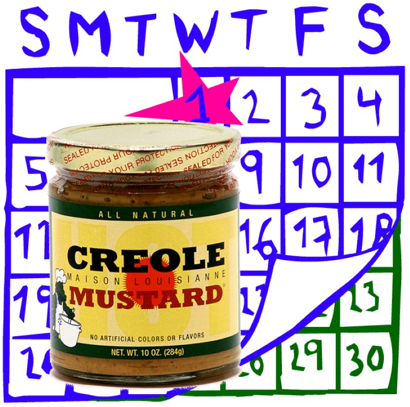Creole Maison Louisianne Mustard jar with a design of a calendar in the background