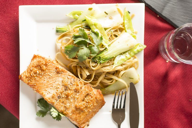 Crispy Asian Salmon Noodle Stir Fry Plate Top Down Sesame Seeds