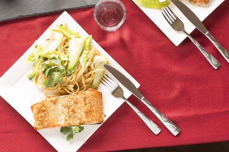 Crispy Beverage Square Plate Asian Salmon Noodle Stir Fry