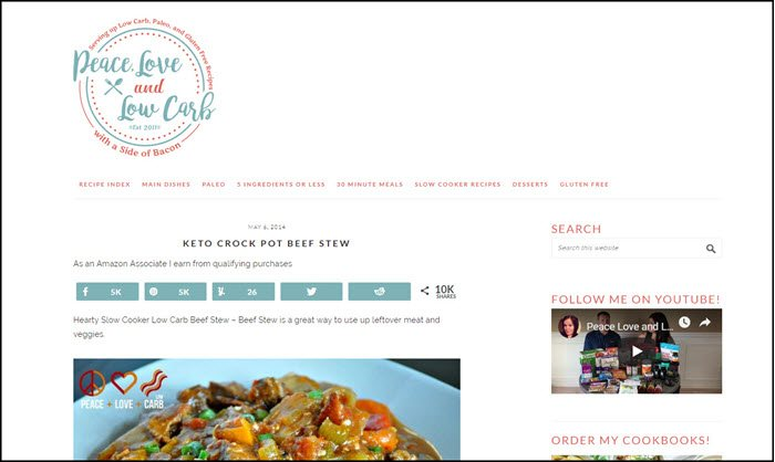 Website screenshot from Peace, Love and Low Carb