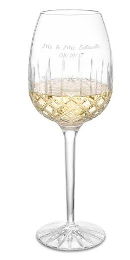 Crystal white wine glass with engraving