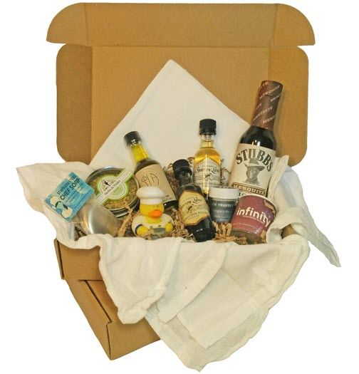 A selection of cooking-related items in a box
