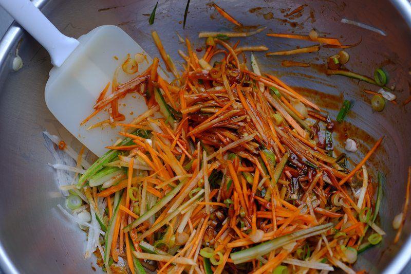 Toss vegetables in