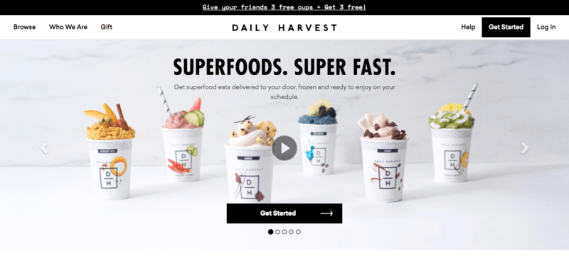 daily harvest website screenshot highlighting six smoothie packs from the company, each with a different flavor