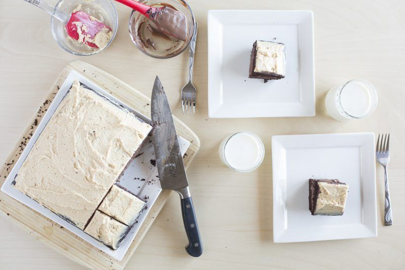 Dark Chocolate Cake Peanut Butter Frosting Chocolate Ganache Behind The Scenes Knife Plates