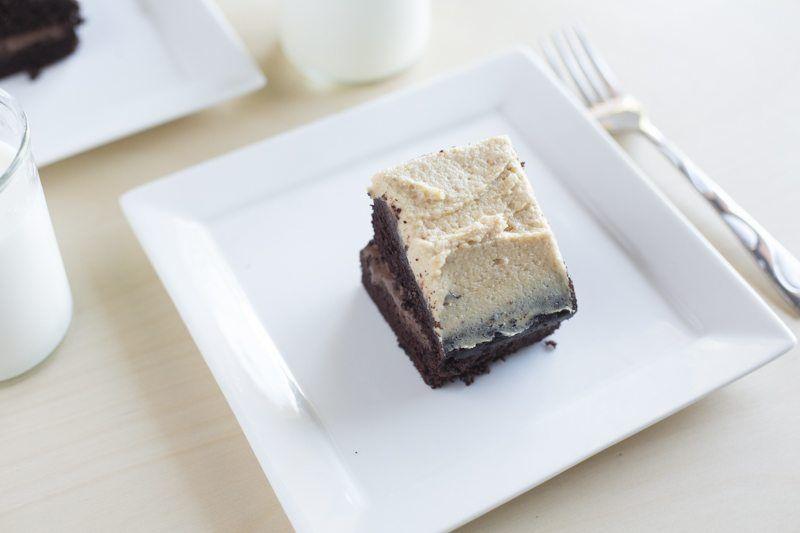 Dark Chocolate Cake Peanut Butter Frosting Chocolate Ganache Detail Plates Milk Fork Reverse