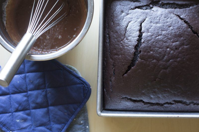 Dark Chocolate Cake Peanut Butter Frosting Chocolate Ganache Prep baked Pan Top Down Whisk