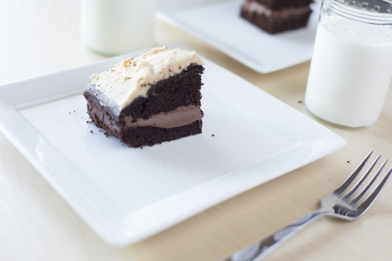 Dark Chocolate Cake Peanut Butter Frosting Chocolate Ganache Reverse Detail Fork Square Plate Milk Two Places