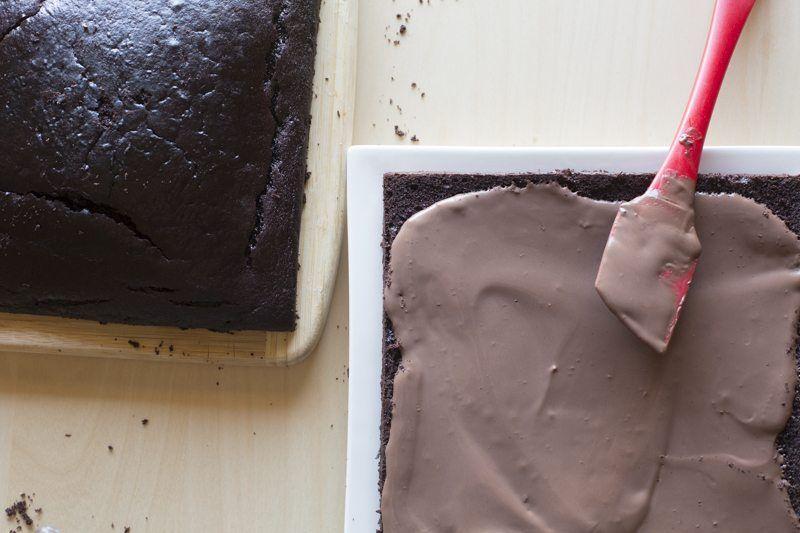 Dark Chocolate Cake Peanut Butter Frosting Chocolate Ganache Spreading Prep Assembly Spatula Slice