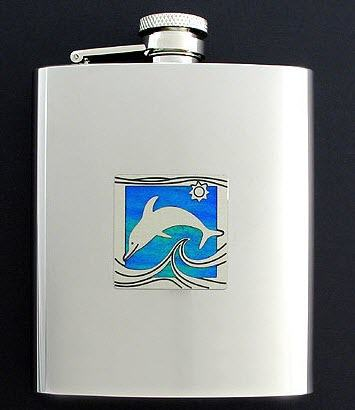 Stainless steel flask with a dolphin logo