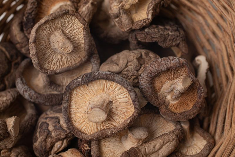 A box or basket filled with dried shiitake mushrooms