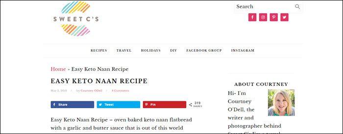 Website screenshot from Sweet C's