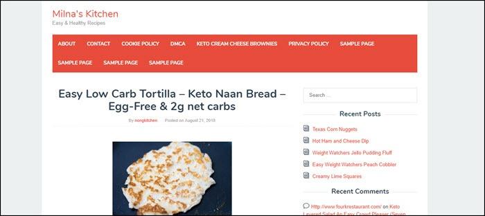 Website screenshot from Milna's Kitchen