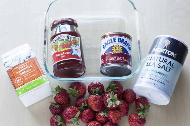 Easy Strawberry Ice Cream Ingredients Table Top Dessert