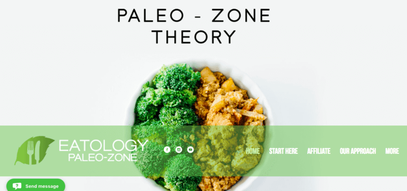 Eatology website screenshot showing a broccoli and chicken dinner, along with the paleo-zone information