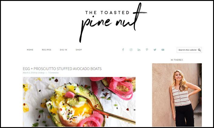 Website screenshot from The Toasted Pine Nut