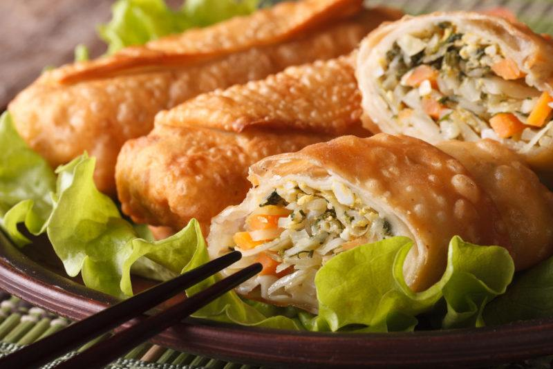 Various egg rolls on a plate