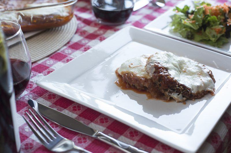 Eggplant Parmesan Detail Salad Gingham Wine