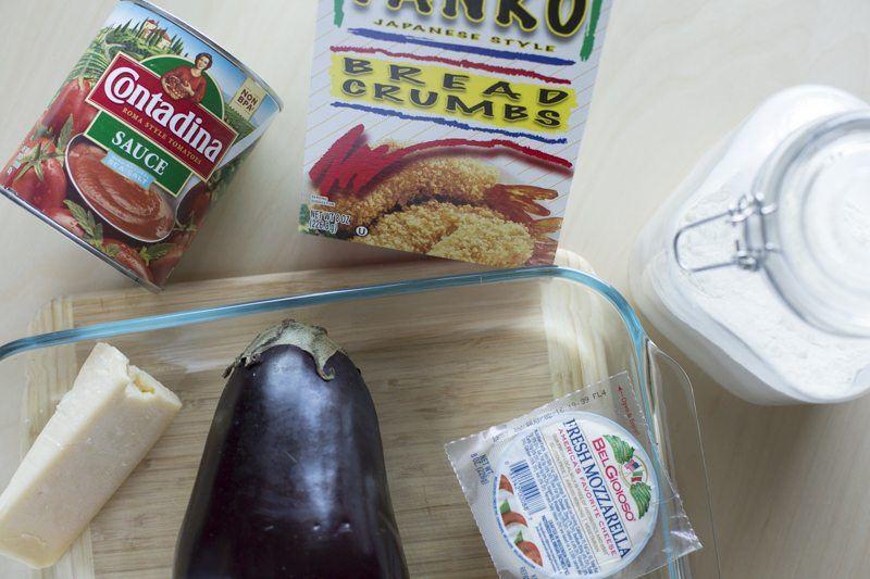 Eggplant Parmesan Ingredients Prep Table Dish Breadcrumbs