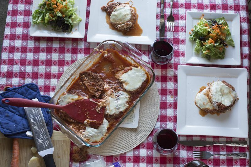 Eggplant Parmesan Prep Area Dish Square Plates Overall Dinner
