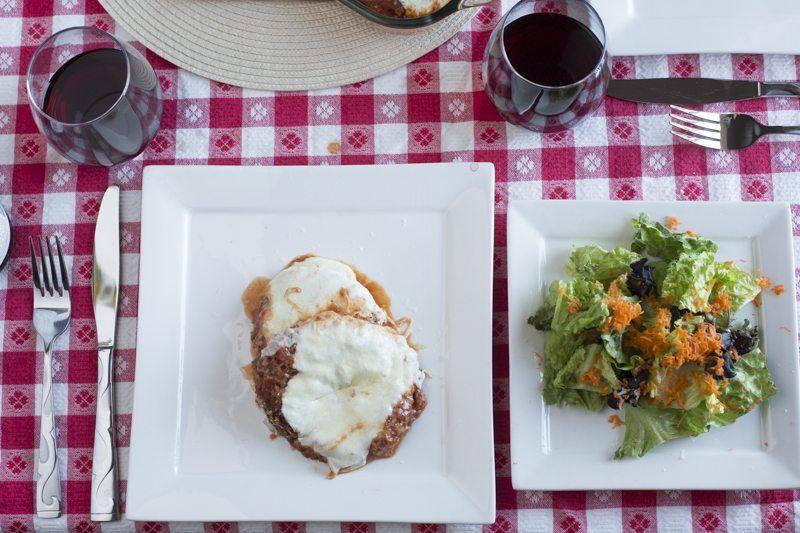 Eggplant Parmesan Top Down Detail Salad Square Plate GIngham DInner