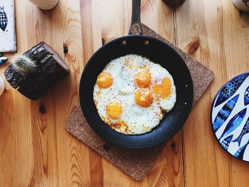 A fry pan with eggs