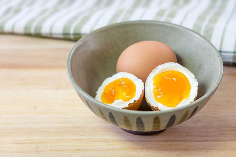 A ceramic bowl of eggs