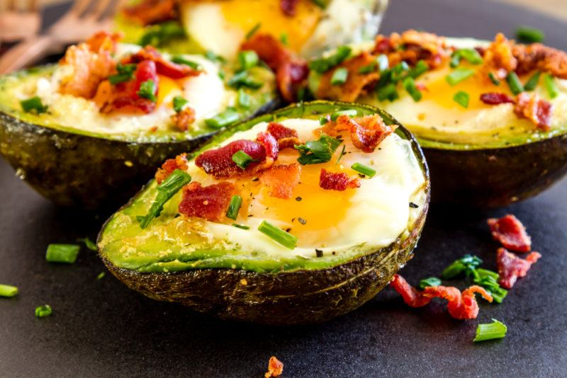 Roasted avocados that contain eggs and meat