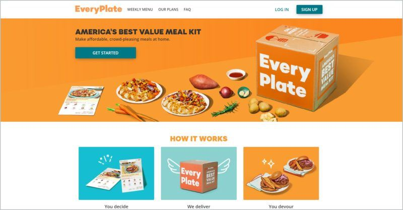 screenshot of EveryPlate homepage with images of a couple of beautifully plated dishes, a box, and several food items