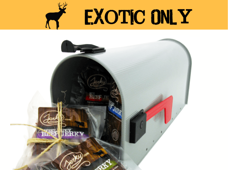 Mailbox with jerky pouring out of it with a banner on the top with a silhouette of a moose that says exotic only