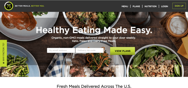 screenshot of factor 75 website showing five cooked meals that include various vegetables and types of meat