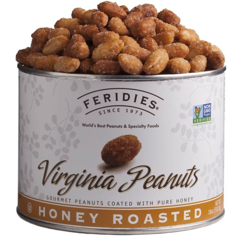 Feridies Canister of nuts overflowing with honey roasted peanuts- The label says Feridies Since 1973- World's Best Peanuts & Specialty Foods - Virginia Peanuts - Gourmet Peanuts coated with pure honey - Honey Roasted
