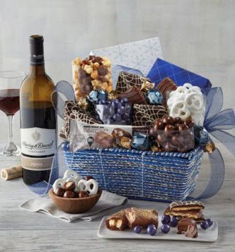 Blue and white gift basket with pretzels and chocolate