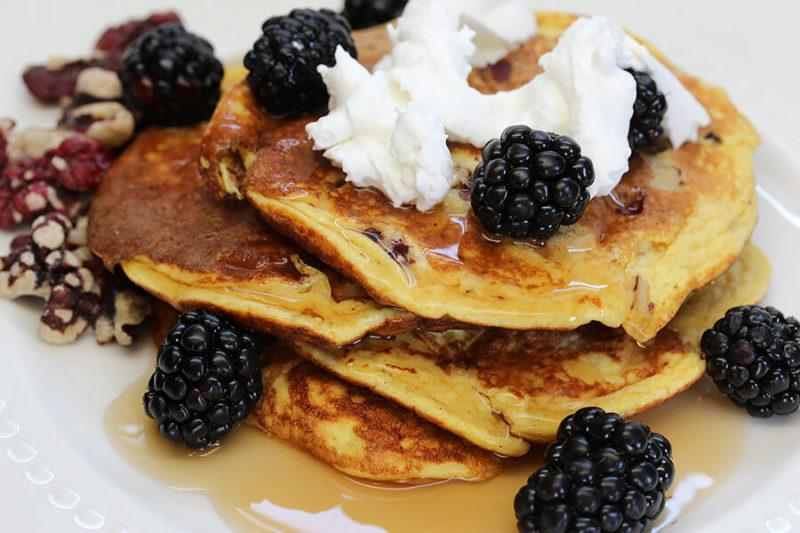 A stack of buttermilk pancakes