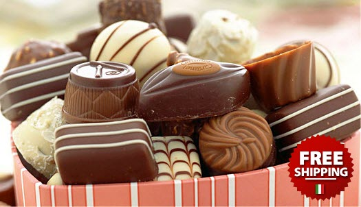 Pink striped box of chocolates
