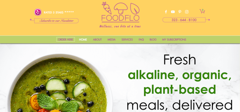 FoodFlo website screenshot showing a bowl of green soup with cucumbers and tomatoes