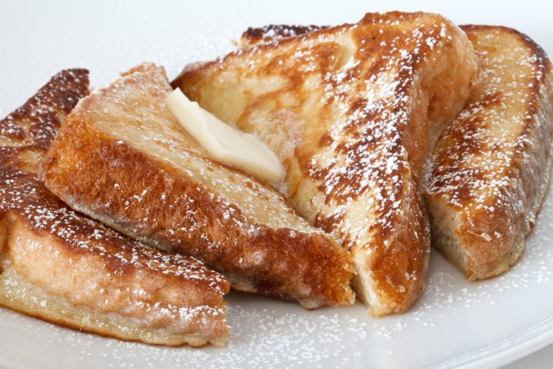A white plate of French toast