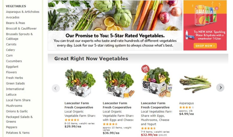 fresh direct vegetables page