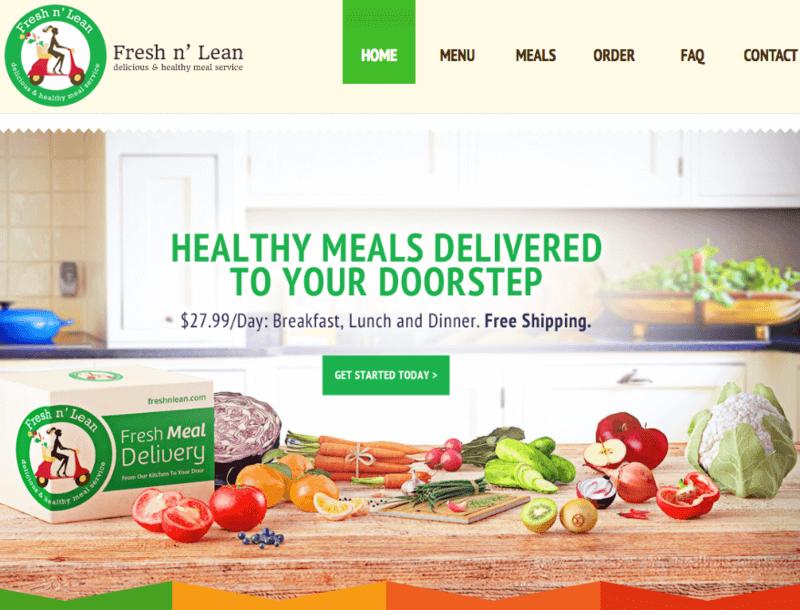 Fresh n' Lean Gluten Free Options Screenshot of Website with veggies on table