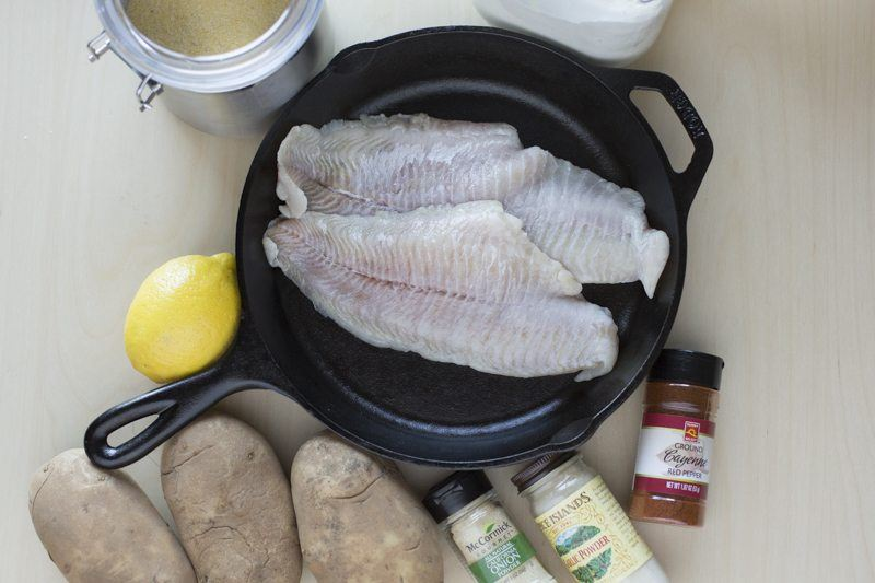 Fried Catfish Oven Fries Ingredients Prep Pan Table Top Down