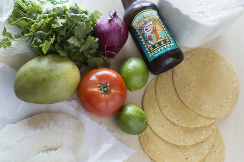 Fried Fish Tacos Mango Tomato Salsa Ingredients Raw Prep