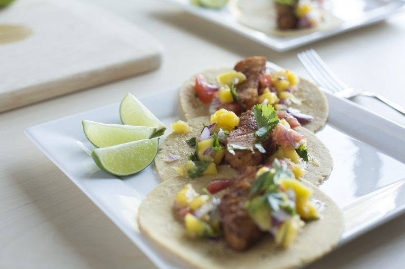 Fried Fish Tacos Mango Tomato Salsa Two Plates Detail Dinner