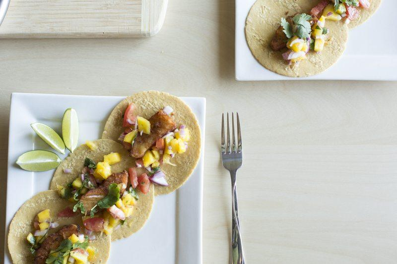 Fried Fish Tacos Mango Tomato Salsa Two Plates Limes Square Fork