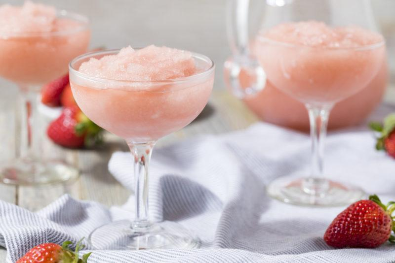 Three cocktails of frozen rose